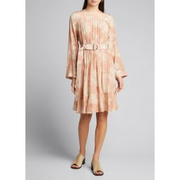 Floral Print Silk Crepe de Chine Dress