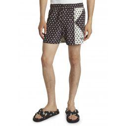 Mens Ikat Patched Swim Shorts