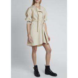 Cotton Poplin 3/4-Sleeve T-Neck Wrap Dress