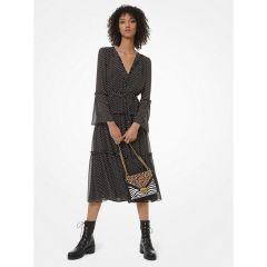 Mini Dot-Print Georgette Tiered Dress