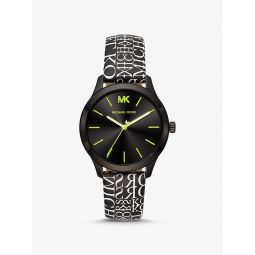 Runway Black-Tone and Newsprint Logo Watch