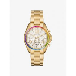 Oversized Bradshaw Rainbow Pave Gold-Tone Watch