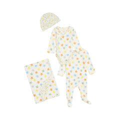 Stella McCartney Organic Cotton Hat, Wrap Bodysuit, Romper & Blanket Set