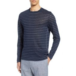 Long Sleeve Stripe Linen T-Shirt
