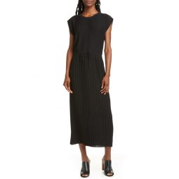 Pleated Cap Sleeve Dress
