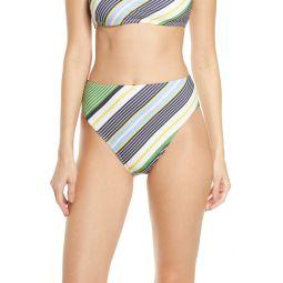 Stripe High Waist Bikini Bottoms