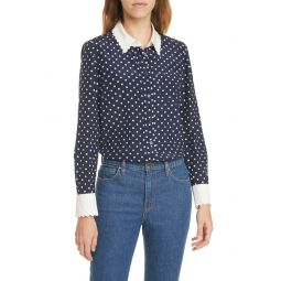 Scalloped Polka Dot Silk Shirt