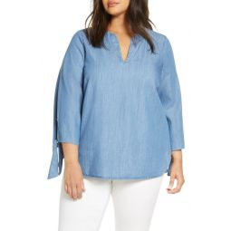 Tie Sleeve Chambray Top