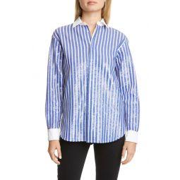 Sequin Stripe Long Sleeve Blouse