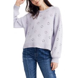 Floral Pointelle Pullover Sweater