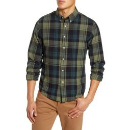 Orsett Plaid Brushed Twill Button-Down Shirt