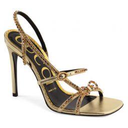 Carmen Crystal Bow Metallic Slingback Sandal