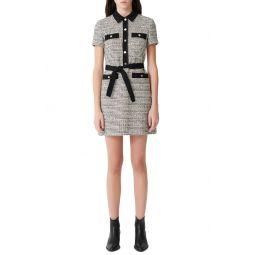 Renala Short Sleeve Tweed Cotton Blend Dress