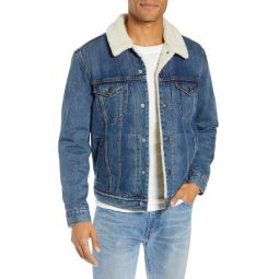 Faux Shearling Trim Denim Trucker Jacket