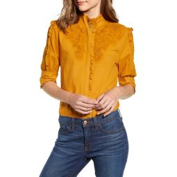 Mock Neck Embroidered Blouse