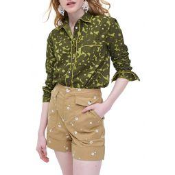 Camo Flowers Long Sleeve Button-Up Shirt