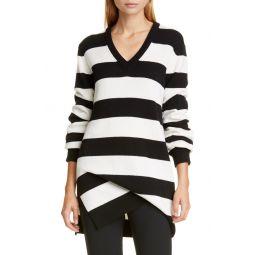Stripe Draped Asymmetrical Cashmere Sweater