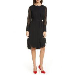 Long Sleeve Silk Chiffon Midi Shirtdress