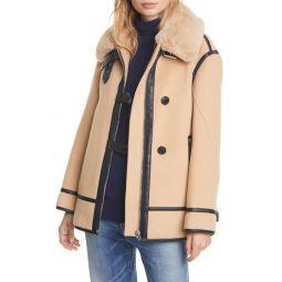 Wool Blend Moto Coat with Faux Fur Trim