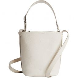 Hudson Mini Snakeskin Trim Leather Bucket Bag
