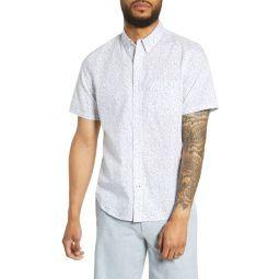 Slim Fit Textured Dots Short Sleeve Button-Down Shirt