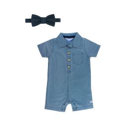 Chambray Romper & Bow Tie Set