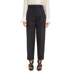 Pleated Pinstripe Ankle Pants