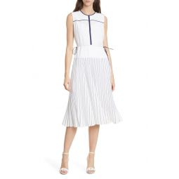 Tipped Pleated Dress