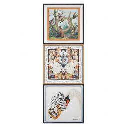 Animal Print Logo Silk Twill Scarf