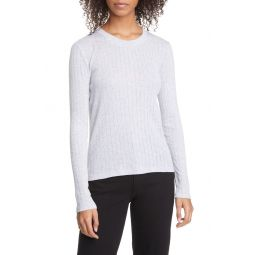 Pointelle Stripe Ribbed Top