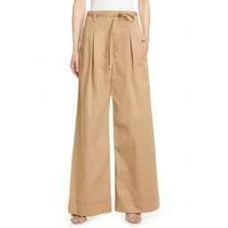 Wide Leg Cotton Twill Trousers