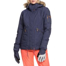 Meade Denim Hooded Snow Jacket with Faux Fur Trim