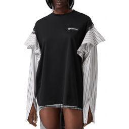 Jersey & Stripe Shirting Sweater