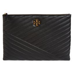 Kira Chevron Leather Zip Pouch