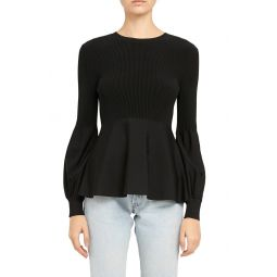 Blouson Sleeve Peplum Top