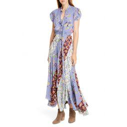 Patchwork Floral Asymmetrical Silk Dress