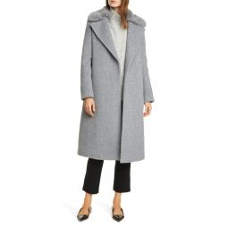Baylee Removable Faux Fur Collar Wool Blend Coat