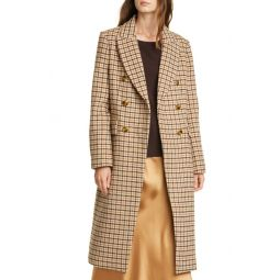 Jemma Plaid Double Breasted Wool Blend Coat