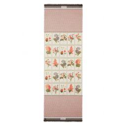 Monogram & Botanical Print Silk & Wool Scarf