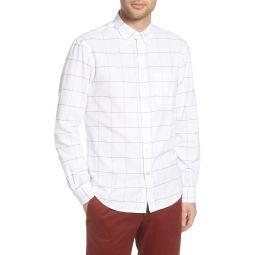 Slim Fit Windowpane Flannel Button-Down Shirt