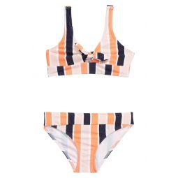 Stripe Tie Front Two-Piece Swimsuit