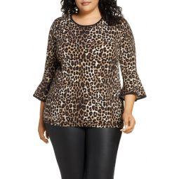 Cheetah Print Flare Sleeve Top