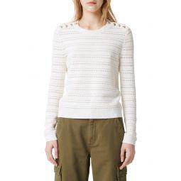 Metier Button Detail Pointelle Sweater