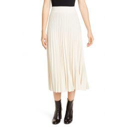 Sunburst Pleat Wool Midi Skirt