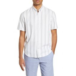 Slim Fit Deck Stripe Short Sleeve Button-Down Shirt