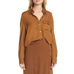 Easy Utility Silk Blend Button-Up Shirt