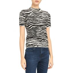 Zebra Mock Neck Wool Blend Top