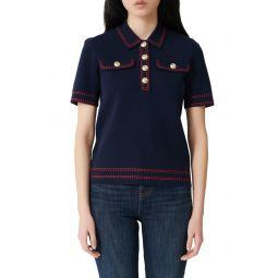 Misla Contrast Stitch Polo Sweater