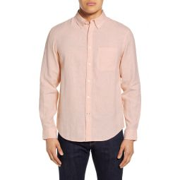 Slim Fit Jaspe Linen Button-Down Shirt