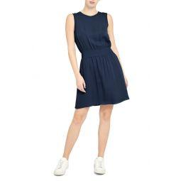 Rib Trim Sleeveless Silk Dress